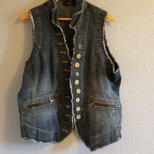 Boho Style Jean Vest Sz 18